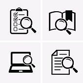 Case Studies Icons set. Vector search icon
