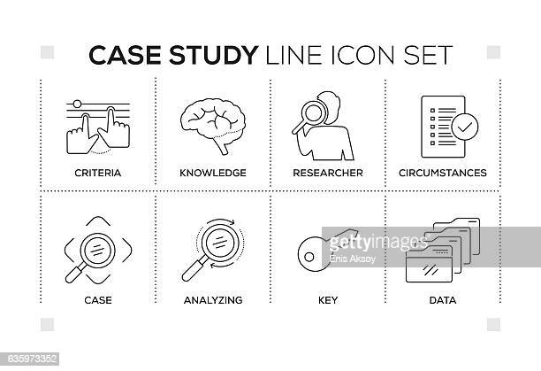 Case Study keywords with monochrome line icons