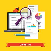 Case study research concept. Flat style vector illustration isolated on white background.