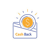 Loyalty concept, cash back, currency credit card, fast easy loan, collecting bonus, earn reward, vector mono line icon, linear illustration, outline design