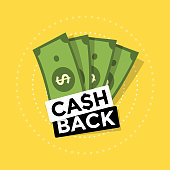 Cash back icon on yellow background. Cash back or money refund label. vector