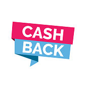 Cash back lettering. Colorful inscription on bright ribbons. Handwritten text, calligraphy. Can be used for postcards, posters and leaflets