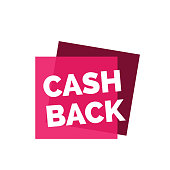 Cash back lettering. Shopping inscription on pink joining squares. Handwritten text, calligraphy. Can be used for postcards, posters and leaflets