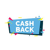 Cash back lettering. Festive shopping inscription with colorful shapes as confetti. Handwritten text, calligraphy. Can be used for postcards, posters and leaflets