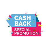 Cash back special promotion lettering. Creative colorful inscription with bright confetti. Handwritten text, calligraphy. Can be used for postcards, posters and leaflets