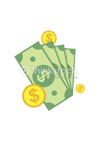 Cash Green Dollars Coin Icon Isolated On White Background