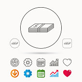 Cash icon. Dollar money sign. USD currency symbol. Calendar, Graph chart and Cogwheel signs. Download and Heart love linear web icons. Vector
