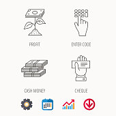 Cash money, cheque and profit icons. Enter code linear sign. Calendar, Graph chart and Cogwheel signs. Download colored web icon. Vector