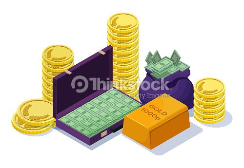 Cash Money Set With Gold Bar Golden Yellow Coins Case Banknotes Sack