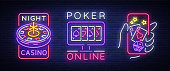 Casino is a set of neon signs. collection in neon style, luminous banner, bright neon advertising online poker, gambling, casino for your projects. Play money online. Vector illustration.