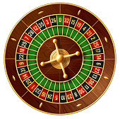 Casino roulette wheel game 3d vector of gambling industry. French or american style roulette with wooden ball track and golden turret for online casino or gamble sport betting design