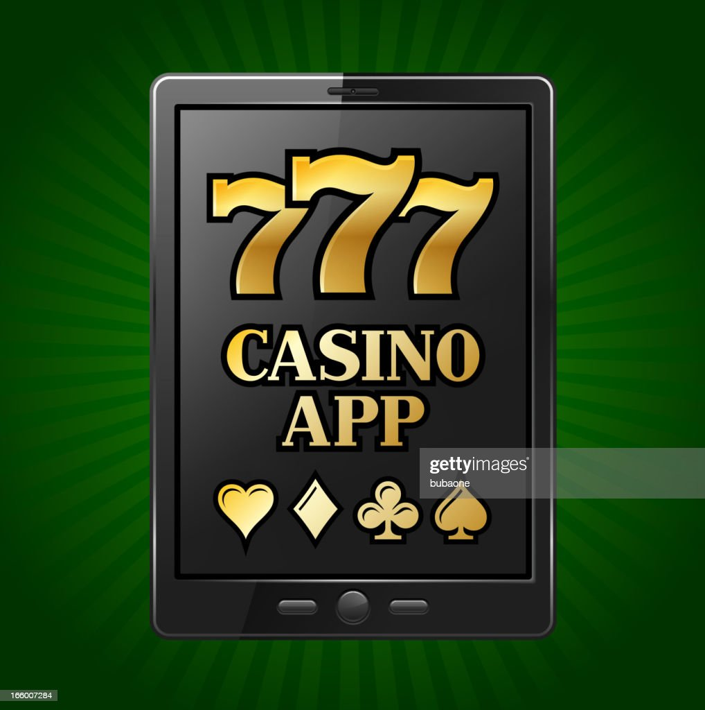 Casino Slot Machine Sevens on Digital Tablet : Vector Art