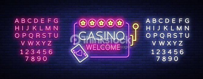 casino welcome in neon style design template neon sign light banner