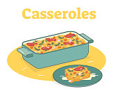 Casserole food illustration