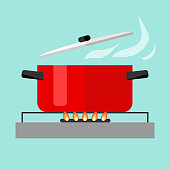 Casserole with soup on fire. Flat design, vector illustration, vector.