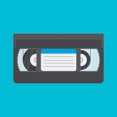 VHS cassette vector illustration in a flat style. Retro video cassette on a colored background. Simple isolated videotape icon.