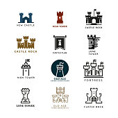 Castle, fortress vector logo set. Tower architecture icon, building medieval, fort illustration