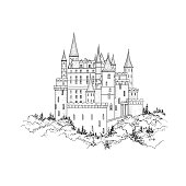 Castle landmark landscape sketch. Medieval palace building with tower