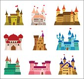 Castles and fortresses flat design vector icons. Set of illustrations of ruins, mansions, palaces, villas and other medieval buildings.
