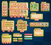 Collection of various buttons, icons, windows, and other ui elements for creating casual and puzzle video games