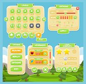 Set contains various user interface elements for creating casual games