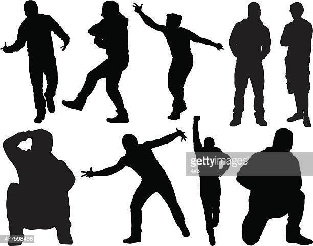 Casual man in various actions