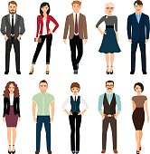 Casual office people vector illustration. Fashion business men and business women persons group standing isolated on white background