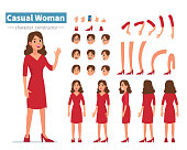 Casual woman character constructor for animation. Flat style vector illustration isolated on white background.