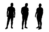 Three young male model shape vectors. Black on white background.