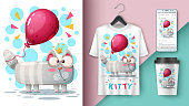 Cat and balloon - mockup for your idea. Vector eps 10