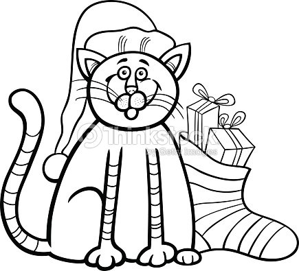 cat and christmas sock coloring book vector art