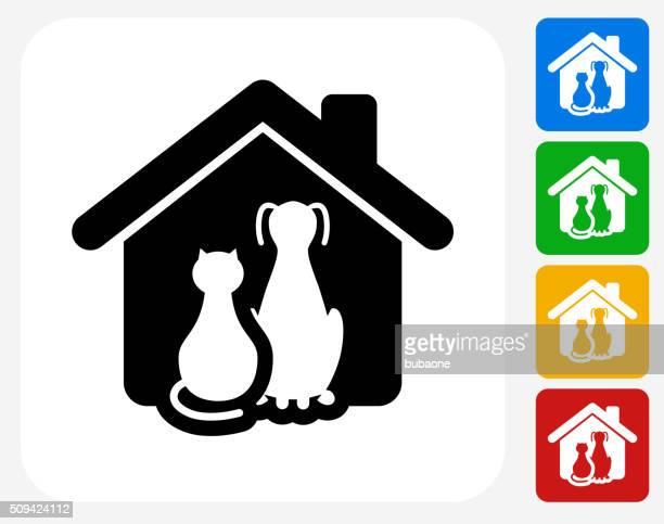 Gato y perro diseño gráfico de iconos planos