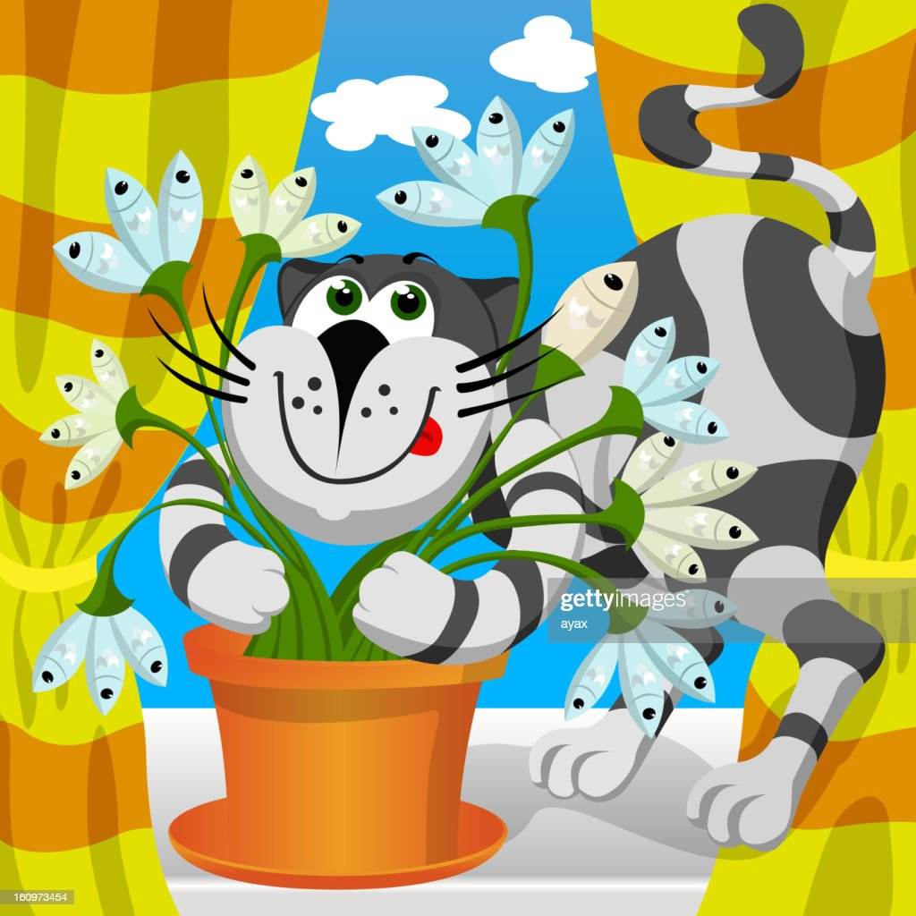 cat and fish flower : Vector Art