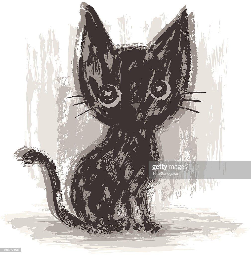 Cat drawn by paintbrush : Vector Art