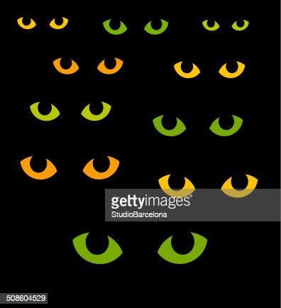 Cat eyes, halloween medio : Arte vectorial