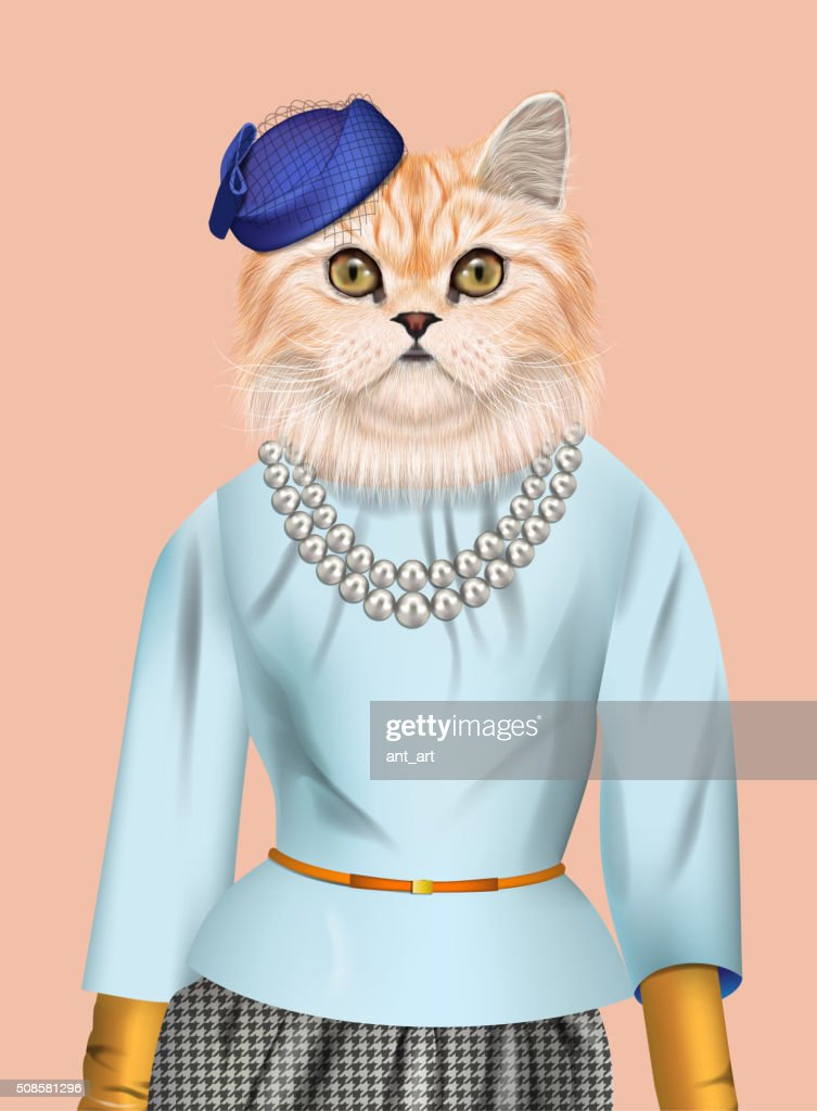 Cat girl dressed up in elegant outfit. : Vector Art