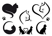 Cat logo designs with heart, set of vector graphic design elements