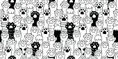 Cat paw icon cat breed kitten hand doodle illustration seamless pattern wallpaper background