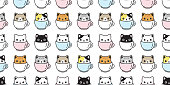cat seamless pattern vector kitten coffee cup calico breed scarf isolated cartoon tile wallpaper repeat background illustration pastel design