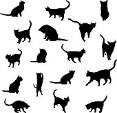 cat silhouette black on white background set vector