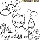 Vector illustration of a black and white outline image of a cute happy tabby cat sitting on grass.
