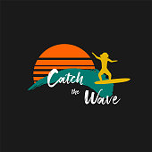 Catch the wave quote with surfing men on ocean blue waves and orange sun on black background. Template for logo, icon or sign for surf board shop. Design Hawaii t-shirt print. Vector illustration.