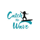 Catch the wave quote with surfing men on ocean blue waves on white background. Template for logo, icon or sign for surf board shop. Design Hawaii t-shirt print. Vector illustration.
