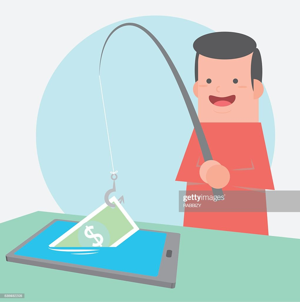 catching money in tablet with fishing rod - vector : Vector Art