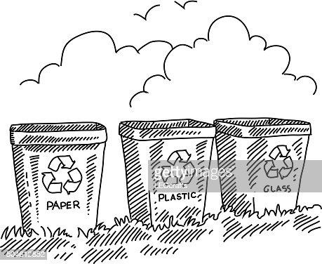 dessin figurent des poubelles de recyclage clipart vectoriel getty images. Black Bedroom Furniture Sets. Home Design Ideas