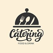 Catering vector  badge with hand written modern calligraphy. Elegant lettering type, vintage retro style. Restaurant service for events and party.