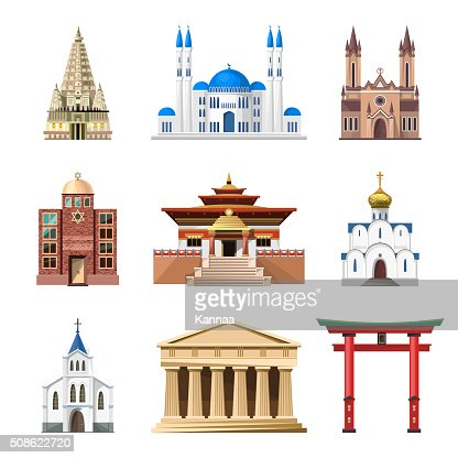 Cathedrals, churches and mosques building vector set : Vector Art