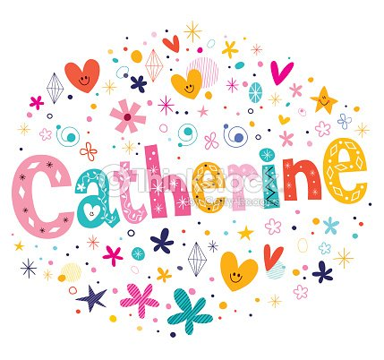 Catherine Girls Name Decorative Lettering Type Design Vector Art