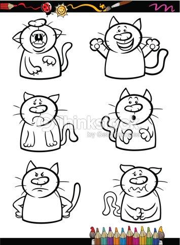 Conjunto De Dibujos Animados Gatos Emociones Libro Para Colorear ...