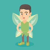 Little caucasian fairy boy with green butterfly wings. Boy dressed in the costume of fairy. Kid wearing elf or fairy suit. Vector cartoon illustration. Square layout.